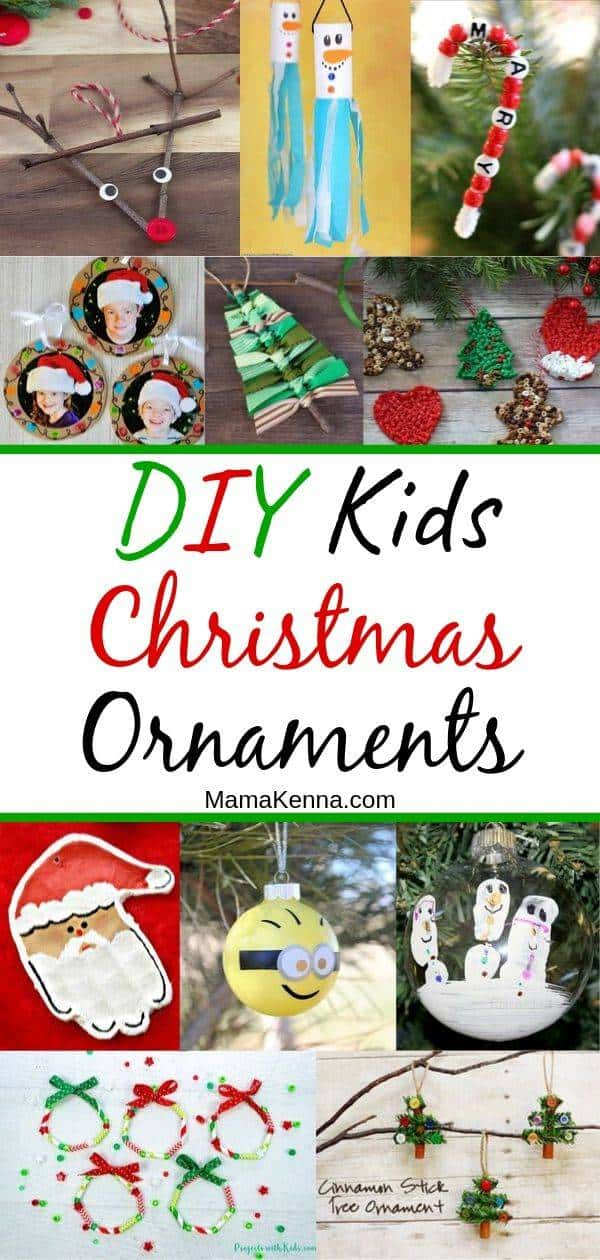 Find easy handmade Christmas ornaments! In this round-up you can find snowman handprint ornaments, candy cane ornaments to make, photo ornaments kids can make, and even mini Christmas tree ornaments. Have fun making these DIY Christmas ornaments for kids.