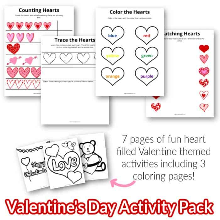 Get a free mini valentine's day activity pack for toddlers and preschoolers! It has coloring pages and learning activities as well.
