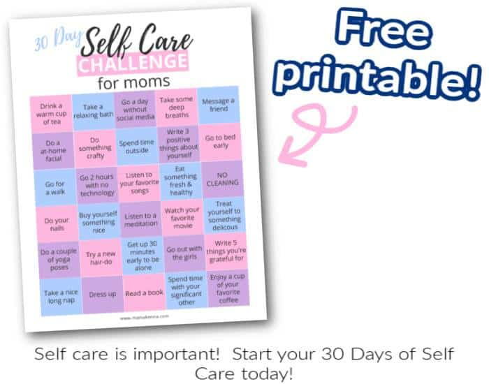 30 day self care challenge for moms pdf