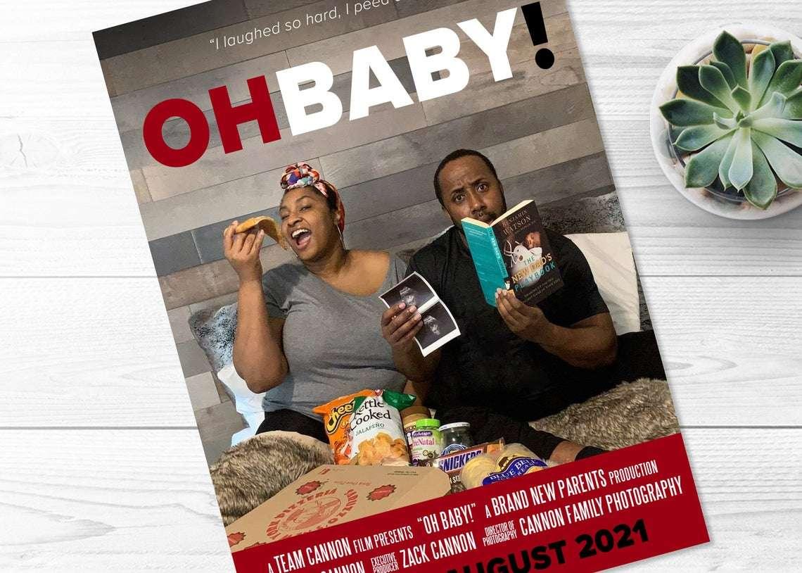 unique movie poster pregnancy announcement idea